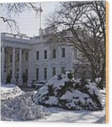 The White House In Winter Wood Print