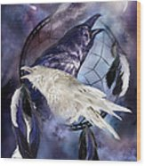 The White Raven Wood Print by Carol Cavalaris