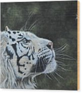 The White Tiger And The Butterfly Wood Print