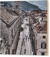The White Tower In The Stradun From The Ramparts Wood Print