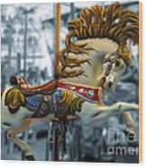 The Wild Stallion Wood Print by Colleen Kammerer