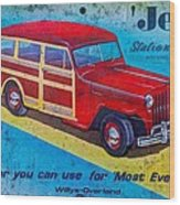 The Willys - Overland Jeep Station Wagon Wood Print