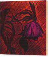 The Wilted Pink Rose Wood Print