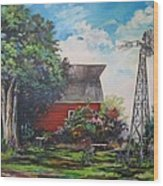 The Windmill Of The Garden Wood Print by Kendra Sorum
