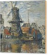 The Windmill On The Onbekende Gracht Amsterdam Wood Print