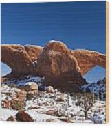 The Windows In Snow Arches National Park Utah Wood Print