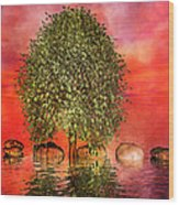 The Wishing Tree One Of Two Wood Print by Betsy Knapp