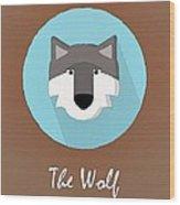 The Wolf Cute Portrait Wood Print
