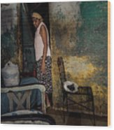 The Woman & The Cat Wood Print