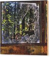 The Woods Through A School Bus Window Wood Print