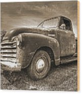 The Workhorse In Sepia - 1953 Chevy Truck Wood Print