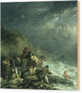 The Wreckers Wood Print by George Morland