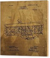 The Wright Brothers Airplane Patent Wood Print