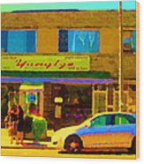 The Yangtze Chinese Food Restaurant On Van Horne Montreal Memories Cafe Street Scene Carole Spandau  Wood Print