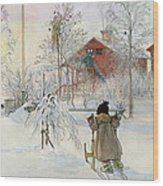 The Yard And Wash House Wood Print by Carl Larsson
