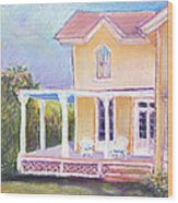 The Yellow Victorian By The Sea Wood Print