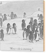 There's A Group Of Penguins And Two Penguins Wood Print