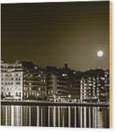 Thessaloniki At Night. Wood Print by Slavica Koceva