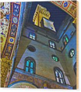 Viev From Courtyard Of Palazzo Vecchio Florence Wood Print