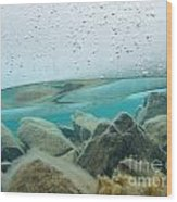 Thick Ice Sheet Underwater Over Rocky Lake Bottom Wood Print