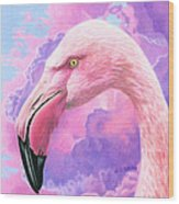 Think Pink Flamingo Wood Print