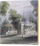 Third Court Of The Serai Bournou, C.1850 Wood Print by William Henry Bartlett