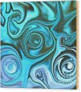 Turquoise  - Satin Swirls Wood Print