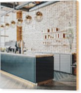 Third Wave Coffee Shop Interior Wood Print