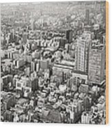 This Is Tokyo In Black And White Wood Print