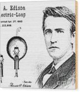 1880 Thomas Edison Electric Lamp Patent Art 2 Wood Print