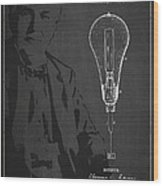 Thomas Edison Incandescent Lamp Patent Drawing From 1890 Wood Print