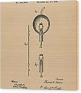 Thomas Edison Patent Application For The Light Bulb Wood Print