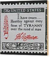 Thomas Jefferson American Credo Vintage Postage Stamp Print Wood Print
