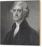 Thomas Jefferson Wood Print by Gilbert Stuart