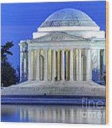 Thomas Jefferson Memorial At Night Reflected In Tidal Basin Wood Print