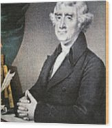Thomas Jefferson Wood Print by Nathaniel Currier
