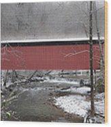 Thomas Mill Covered Bridge Along The Wintery Wissahickon Wood Print