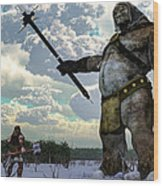 Thor And The Frost Giant Wood Print