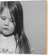 Thoughtful Little Girl Wood Print by Stephanie Grooms
