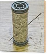 Thread And Needle Wood Print