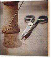 Thread And Scissors Wood Print