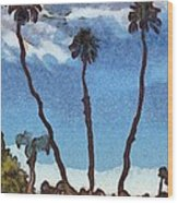 Three Abstract Palm Trees  Wood Print