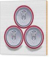 Three Aluminum Drink Cans Shadow Wood Print