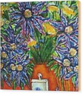 Blue Flowers Yellow And A Perfume Bottle Wood Print