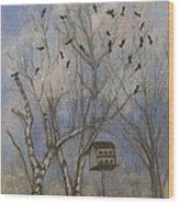 Three And Twenty Blackbirds Wood Print