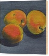 Three Apricots Wood Print