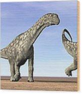 Three Argentinosaurus Dinosaurs Wood Print by Elena Duvernay