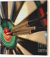 Three Arrows In The Centre Of A Dart Board Wood Print