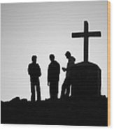 Three At The Cross Wood Print