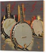 Three Banjoes Wood Print